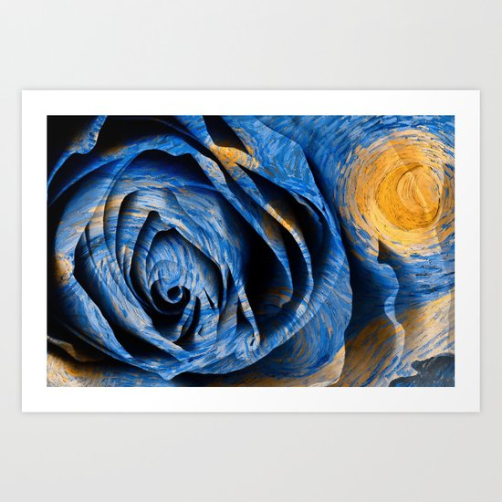 Starry Night Rose Art Print