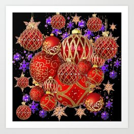 RED-GOLD CHRISTMAS TREE ORNAMENTS SNOWFLAKE ART Art Print