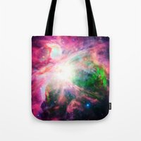 nebula Tote Bags featuring Orion NebuLA Colorful Purple by 2sweet4words Designs