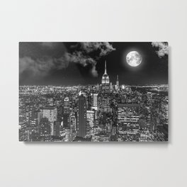 New York Under the Moon Metal Print