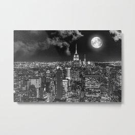 New York Under the Moon Metal Print
