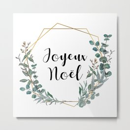 Noel Eucalyptus Geometric Wreath Metal Print