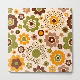 Retro 70s funky flowers brown, orange, green Metal Print