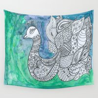 peacock Wall Tapestries featuring Peacock by Ioana Stef