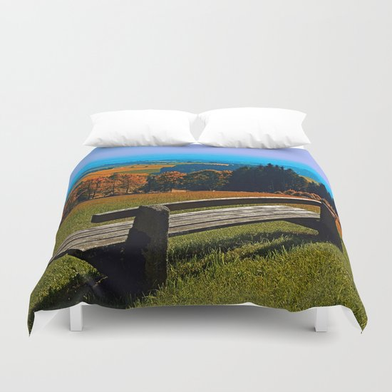 Summertime scenery and the bench to watch it Duvet Cover
