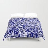 batik Duvet Covers featuring paisley batik by Ariadne