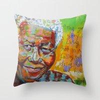 mandela Throw Pillows featuring nelson mandela by yossikotler