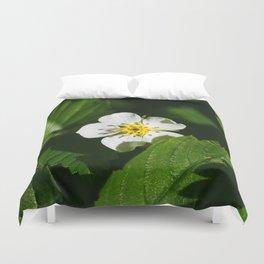Wild Strawberry Flower Duvet Cover