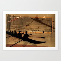 rowing Art Prints featuring Rowing by Robin Curtiss