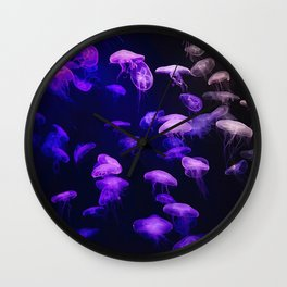 Jellyfish - purple and pink Wall Clock
