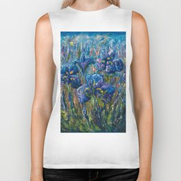 Countryside Irises Oil painting with palette knife Biker Tank