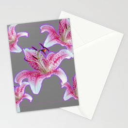 PURPLE & PINK ASIAN LILIES GREY ART PATTERNS Stationery Cards