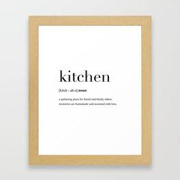 Kitchen definition Framed Art Print