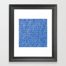 Black Blue Stripes on Crumpled Paper Framed Art Print