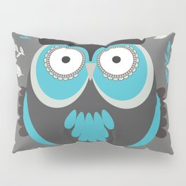 BLUE OWL AND LEAVES Pillow Sham