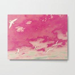 Pink Sky & Gulls Metal Print