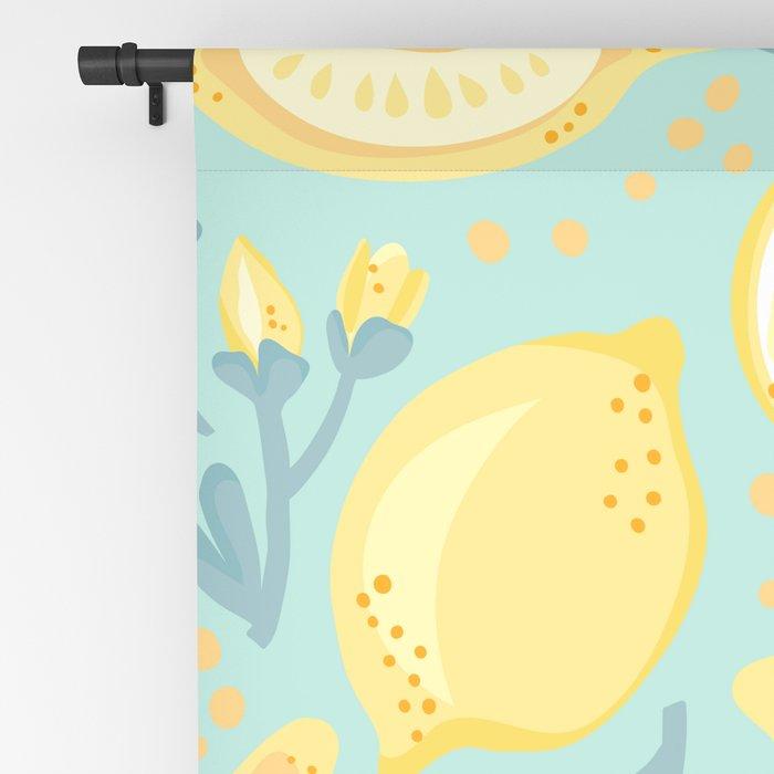 Lemon Pattern Mint Blackout Curtain