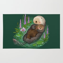 Sea Otter Mother & Baby Rug