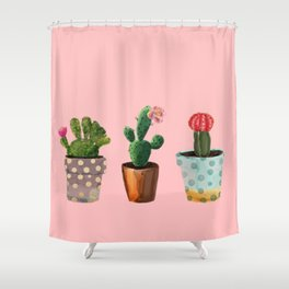 Three Cacti With Flowers On Pink Background Shower Curtain