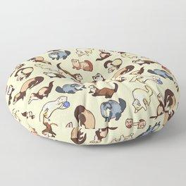 Ferrets in cream Floor Pillow