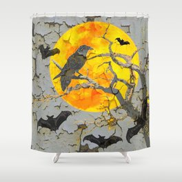 HALLOWEEN NIGHT BATS & RAVEN GOLDEN  MOON Shower Curtain