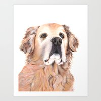 golden retriever Art Prints featuring Golden Retriever by LouiseDemasi