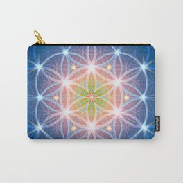 Blue Flower of Life Carry-All Pouch