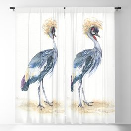 Grey Crowned Crane Bird Blackout Curtain