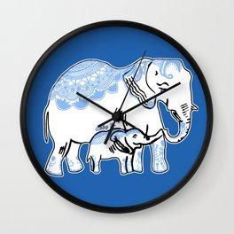 Ornate Elephants Blue and White Wall Clock
