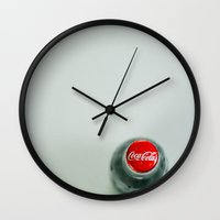 coca cola Wall Clocks featuring Coca Cola by Monsters Ate My Brain