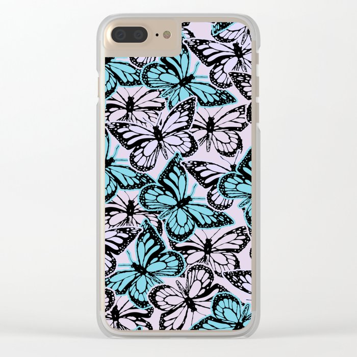Vintage Butterflies Clear iPhone Case