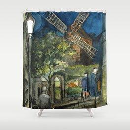 Postcards from Paris - Montmartre by Night: Le Moulin de la Galette Shower Curtain