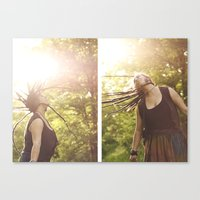 rasta Canvas Prints featuring Rasta woman by cristinacarrion
