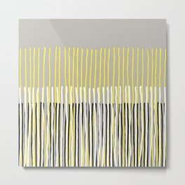 Yellow Rising - abstract stripes in yellow, grey, black & white Metal Print