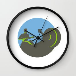 Rower Rowing Machine Circle Retro Wall Clock