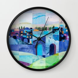 Jerusalem in Blue Wall Clock