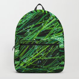 closeup green grass texture background with raindrops Backpack