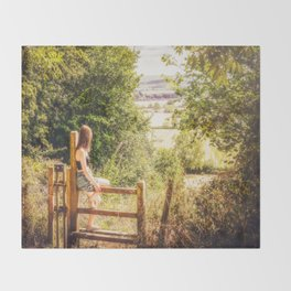 Summer-haze landscape Throw Blanket