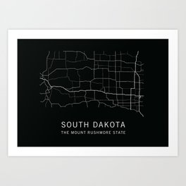 South Dakota State Road Map Art Print