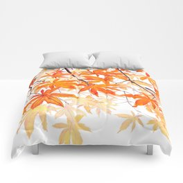 orange maple leaves watercolor Comforters