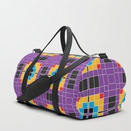 Pixels Plaid Fabric Pattern Duffle Bag