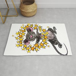Merry Christmas and a Happy New Year Mouse with a star wreath Rug