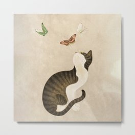 Minhwa: cat & butterflies (Korean traditional/folk art)  Metal Print
