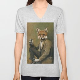 Vintage Fox In Suit Unisex V-Neck