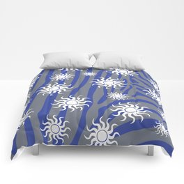 Blue on a sunny day Comforters