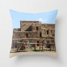 A Taos Pueblo Building Throw Pillow