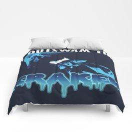 I Outswam The Kraken (Blue) Comforters