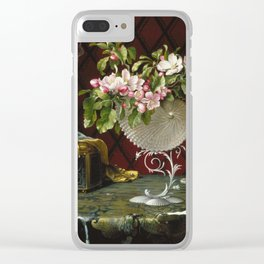 Martin Johnson Heade - Still Life With Apple Blossoms In A Nautilus Shell. Clear iPhone Case