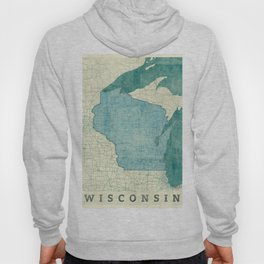 Wisconsin State Map Blue Vintage Hoody