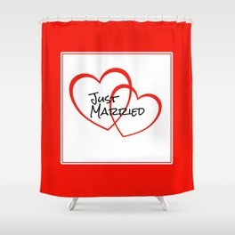Just Married Red Hearts Shower Curtain
